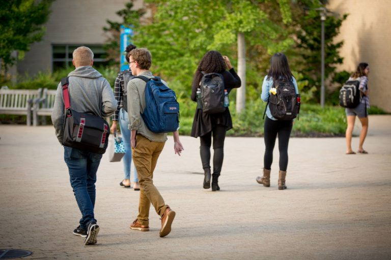Students walking on HLS Campus